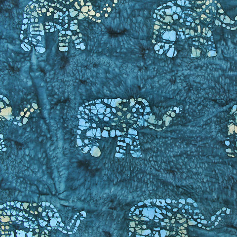 Batik Blue Cotton - Elephant March