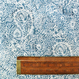 Batik Blue Grey Cotton - White Paisley