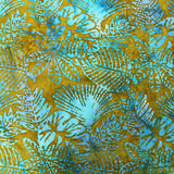 Batik Cotton - The Zombies - Khaki Green and Turquoise