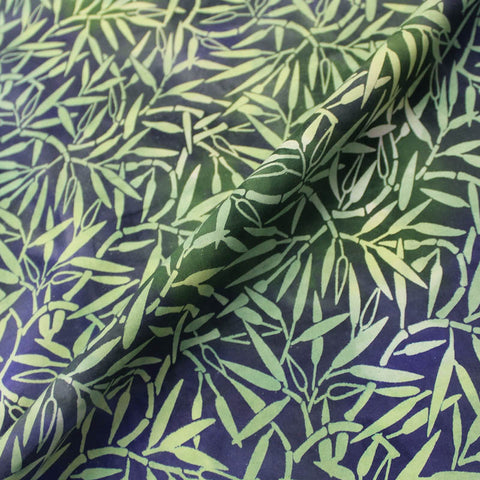 Batik Cotton - Vanilla Fudge - Green and Purple