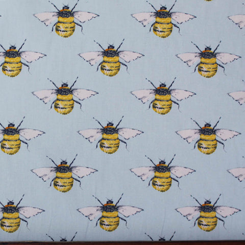 Bees Cotton - Pale Blue