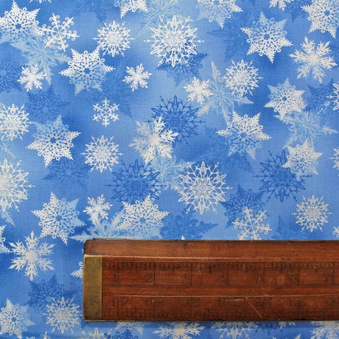 Blue Pearlised Christmas Cotton - Icy Snowflakes - Mid Blue