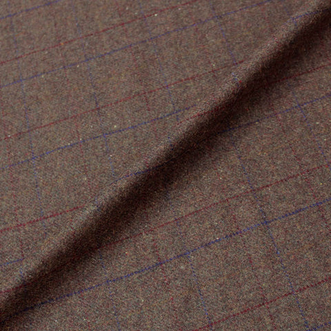 Special Purchase Brown Wool Check - Red and Blue Fine Lines