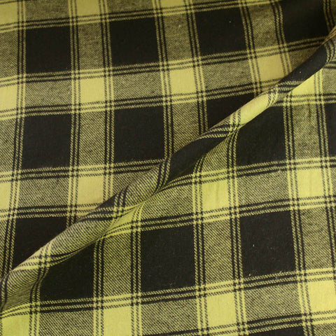 Brushed Cotton Check - Yellow and Black