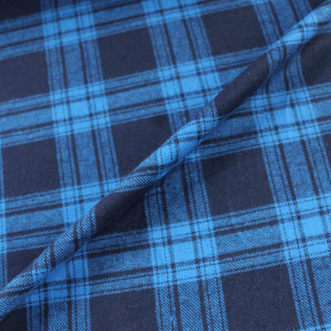 Brushed Cotton Check - Blue and Navy