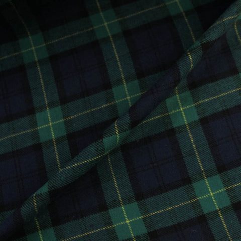Brushed Cotton Check - Blue and Green