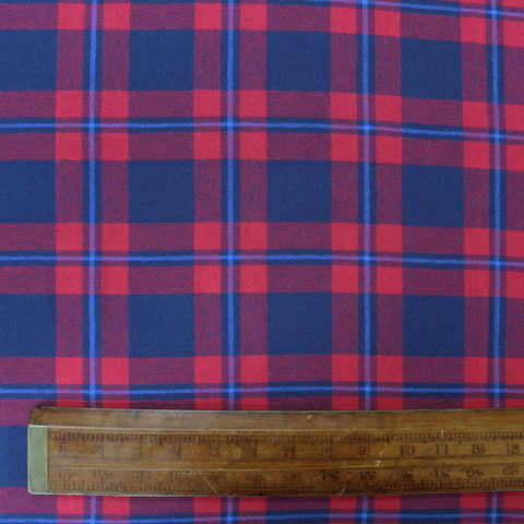 Brushed Cotton Check - Red and Royal Blue