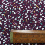Burgundy Brushed Cotton - Floral - Pretty Cotton Buds