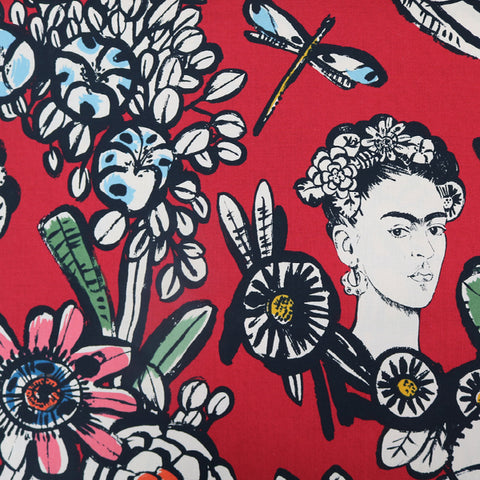 Cactus Flower with Frida Kahlo Cotton by Alexander Henry - Red