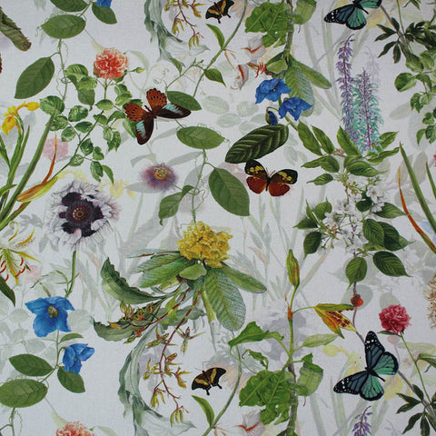 White Conservatory Flowers Home Furnishing Fabric