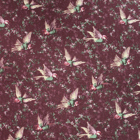 Cotton Corduroy - Flying Finches - Burgundy