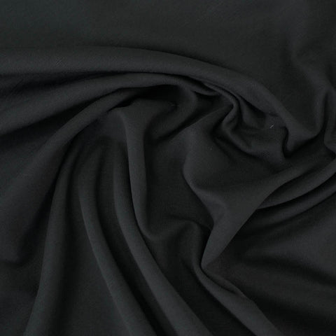 Plain Cotton Elastane Jersey - Darkest Black