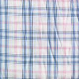Dressmaking Cotton Shirting - Blue Check with Embroidered Pink Lines