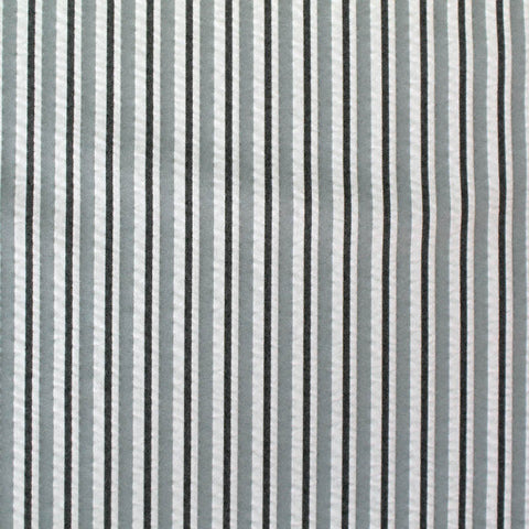 Cotton Elastane Mix Stripe Seersucker - Grey