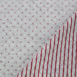 Criss Cross Quilted Effect Double Jersey - Pale Grey Marl and Raspberry