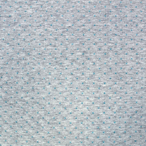 Criss Cross Quilted Effect Double Jersey - Pale Grey Marl and Turquoise