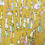 Drawn People Home Furnishing Fabric- Mustard