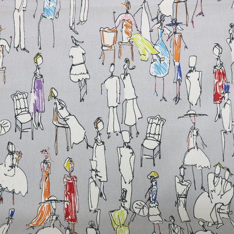 Drawn People Home Furnishing Fabric - Grey