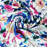 Dressmaking 100% Silk Crepe  - Royal Bouquet