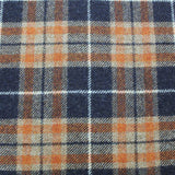 Dressmaking Navy and Tan Wool Check  - Braveheart