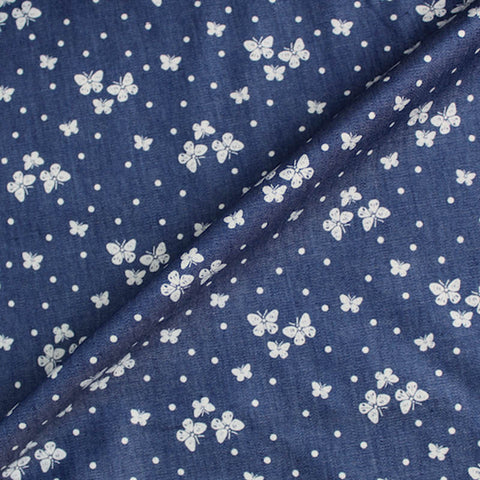 Dressmaking Printed Denim - White Butterflies
