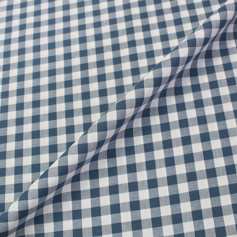Dressmaking Cotton Gingham - Wide Width - Denim Blue and White