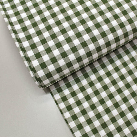 Dressmaking Cotton Gingham - Wide Width - Khaki and White