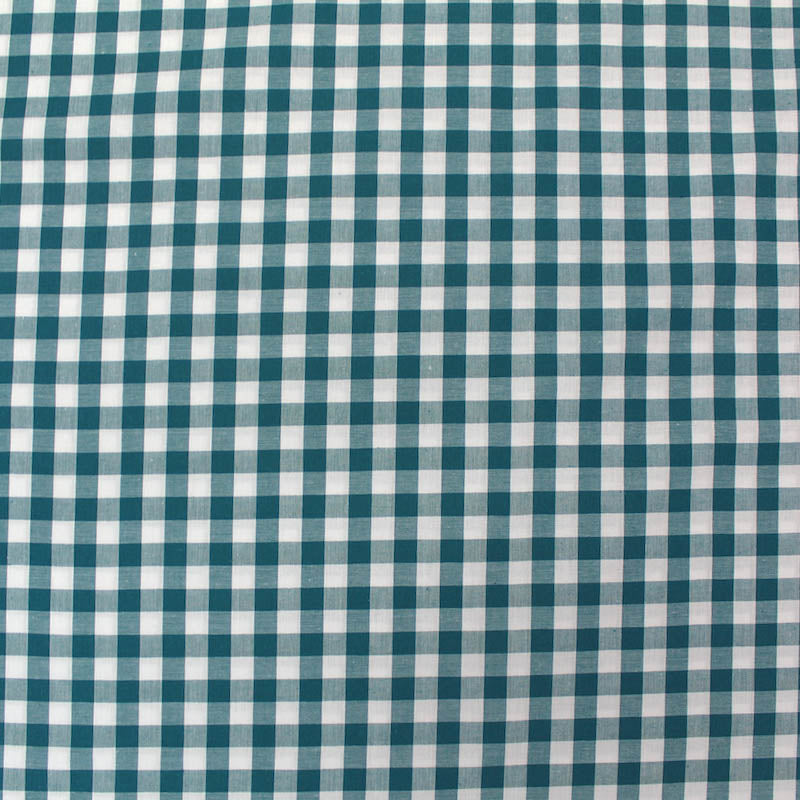 Dressmaking Cotton Gingham - Wide Width - Petrol and White