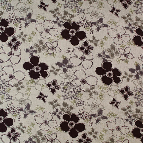 Dressmaking Drapey Linen Viscose Mix - Antique Purple Floral - Taupe