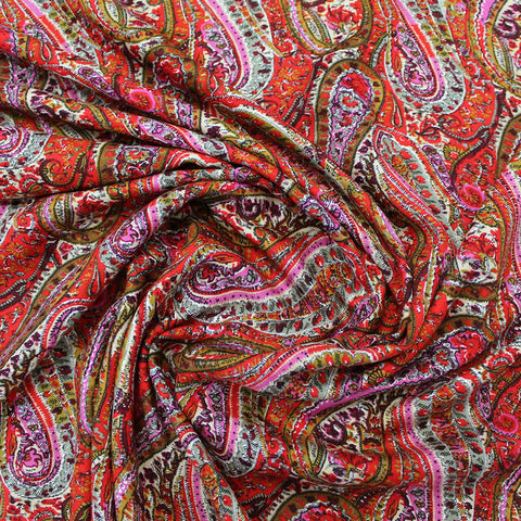 Dressmaking Viscose Twill - Charlie's Paisley - Red/Pink
