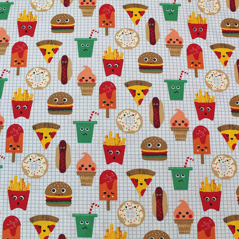Fast Food Friends Printed Wide Width Cotton