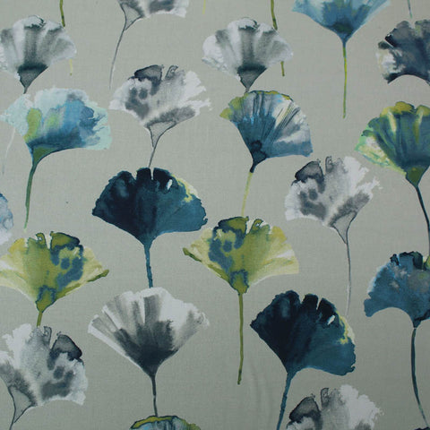 Ginkgo Leaf Home Furnishing Fabric - Blues and Greens