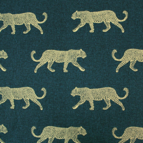 Home Furnishing - Leopards on the Prowl - Petrol and Gold