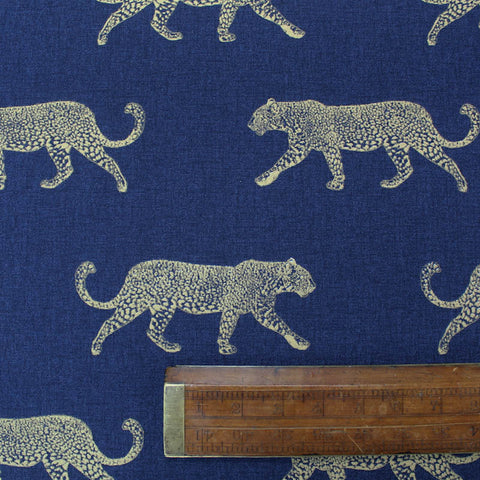 Home Furnishing - Leopards on the Prowl - Navy and Gold