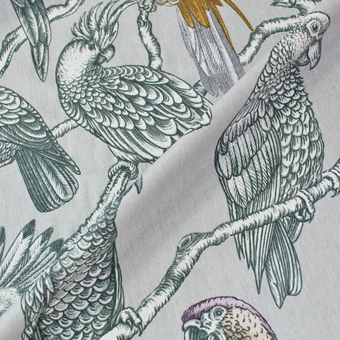Bird Perch Home Furnishing Fabric - Lavender, Gold and Grey