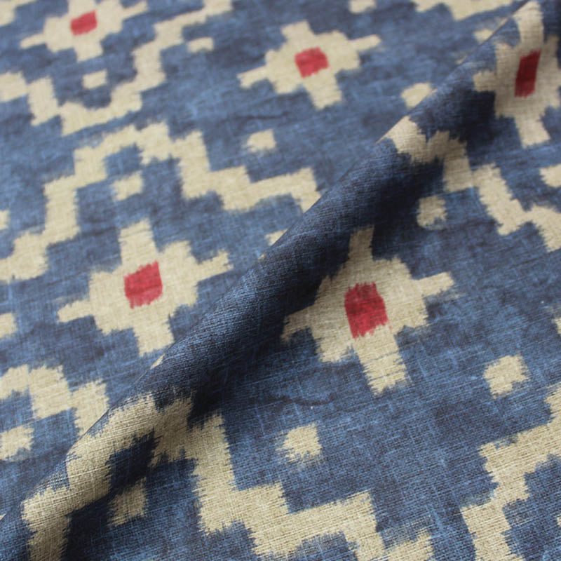 Home Furnishing Kilim Effect Print Blue/Gold