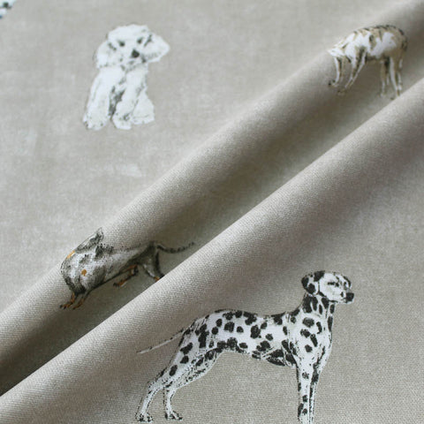 Home Furnishing Cotton - All Dog Alert in Taupe