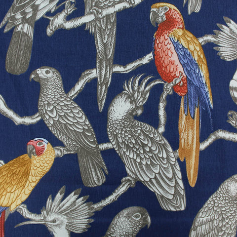 Bird Perch Home Furnishing Fabric - Cobalt Blue and Red