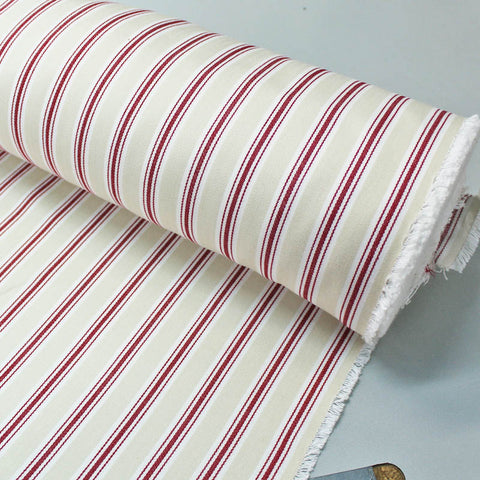 Home Furnishing Cream and Red - Ticking Stripe