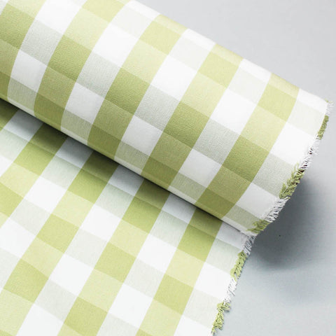 Home Furnishing Indian Cotton Gingham - Lime and White