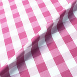 Home Furnishing Indian Cotton Gingham - Rose Pink and White