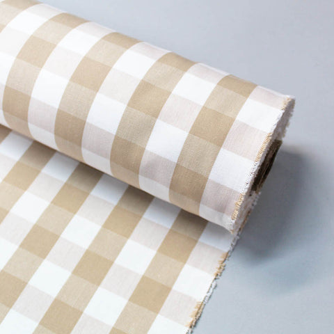 Home Furnishing Indian Cotton Gingham - Taupe and White