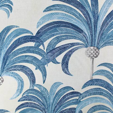 La Palmeraie Furnishing Fabric - Maison THEVENON Paris - Blue and White
