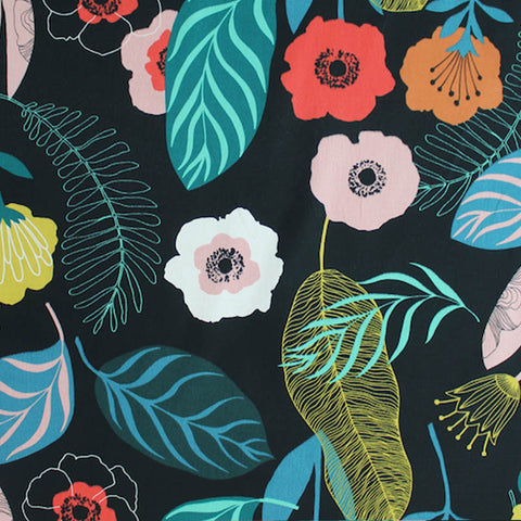 Nordic Forest Home Furnishing Cotton Fabric Jet Black