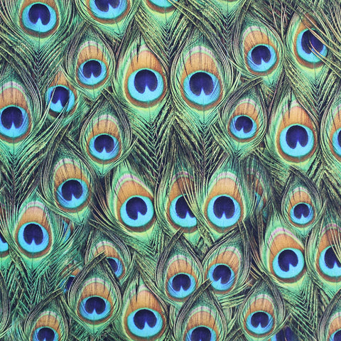 Cotton Panama Home Furnishing Fabric - Peacock Tails