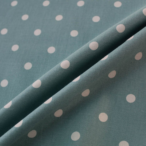 Spots Home Furnishing Fabric - Soft Petrol Green/White