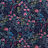 Printed Floral Cotton- Kimmy's Navy and Pink Meadow