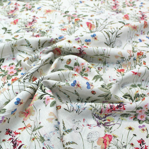 Dressmaking Drapey Linen Viscose Mix - Lady Bird Meadow - Cream