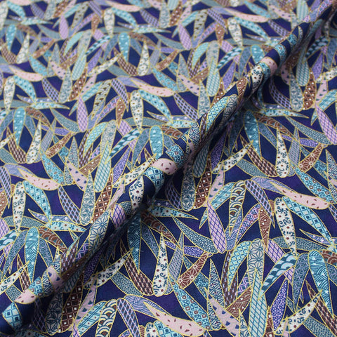 Metallic Blue Printed Patchwork Cotton - Papyrus Grass