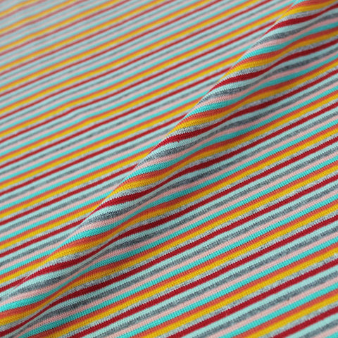 1x1 Circular Multi Coloured Cotton Rich Ribbing - Bright Jelly Bean Stripe